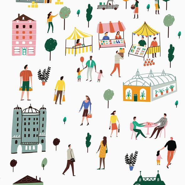 Urban artwork with the title 'Urban life illustration'