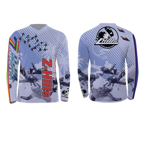 Skydiving design with the title 'jersey design for a World Famous Skydiving Center'