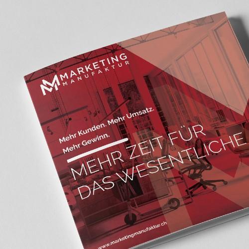 Marketing design with the title 'Marketing Manufaktur Brochure'