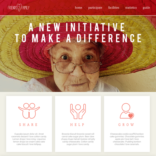 Senior living design with the title 'Bright Landing Page for Community-driven website'