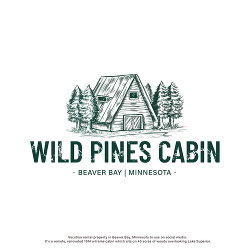 Cabin logo with the title 'Wild Pines Cabin'