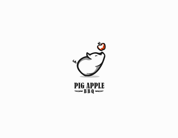Barbecue design with the title 'Pig Apple BBQ'