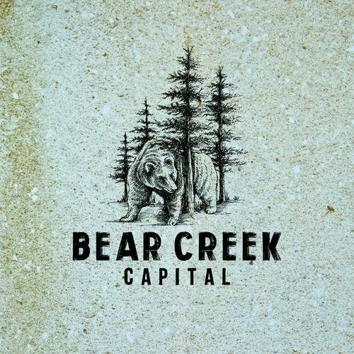 Pine tree logo with the title 'Bold engraved drawing logo for Bear Creek Capital'