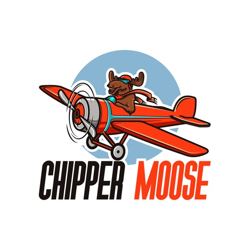 Blue and orange logo with the title 'Logo concept for Chipper Moose'