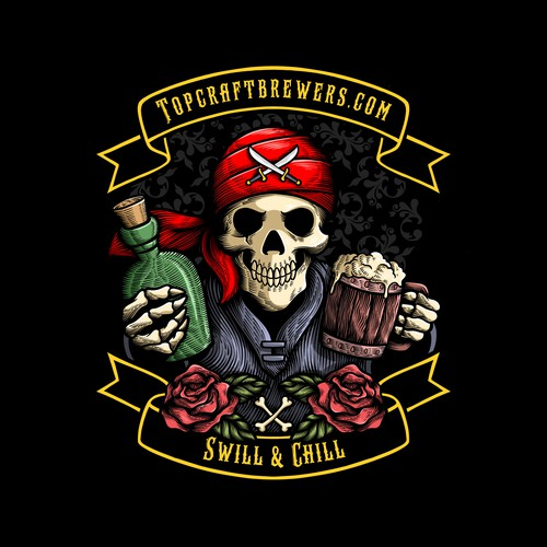 Pirate design with the title 'Pirate Skull Illustration with Engraving Style for Radoutdoor'
