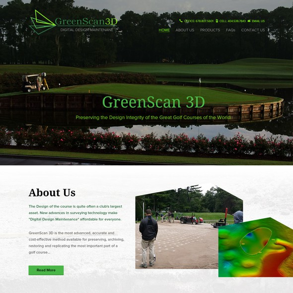 Golf course design with the title 'GreenScan 3D Website Revised and Updated'