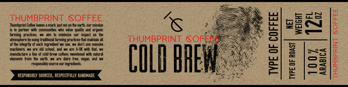 Roast design with the title 'Thumbprint Coffee Label'