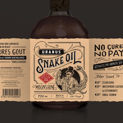 Beer packaging with the title 'Snake Oil Moonshine'
