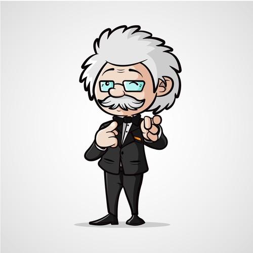 Prayer design with the title 'Character design Einstein'