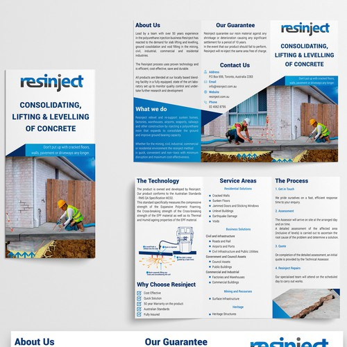 Tri-fold design with the title 'Resinject (BROCHURE)'