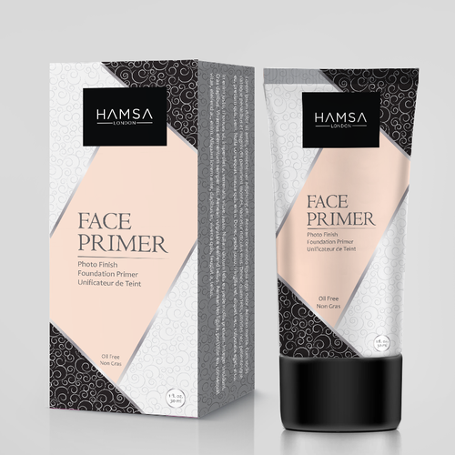 Tube packaging with the title 'HAMSA, primer cream, box and tube design'