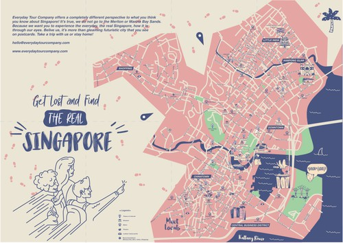 Map artwork with the title 'Singapore Touristic Map Design And Illustration'