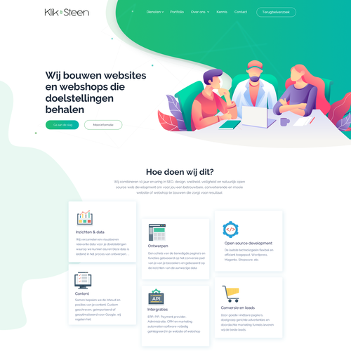 Illustration website with the title 'Creative Web Design'