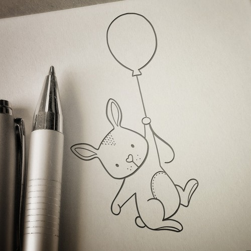 Illustration with the title 'Rubber stamp - rabbit'