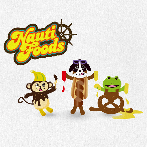 Frog illustration with the title 'foods animal'