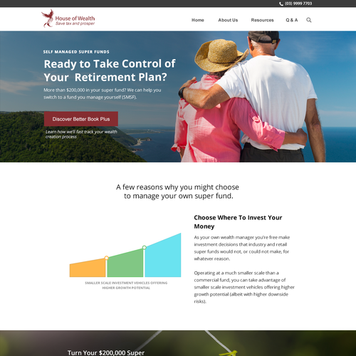 Accounting website with the title 'award winning Aussie accounting firm'