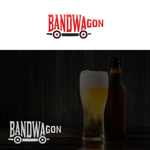 "Wagon logo with the title 'Design a logo for a new liquor company ""Bandwagon""'"