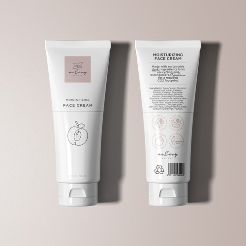 Pastel packaging with the title 'Tube design for a sustainable cosmetic brand'