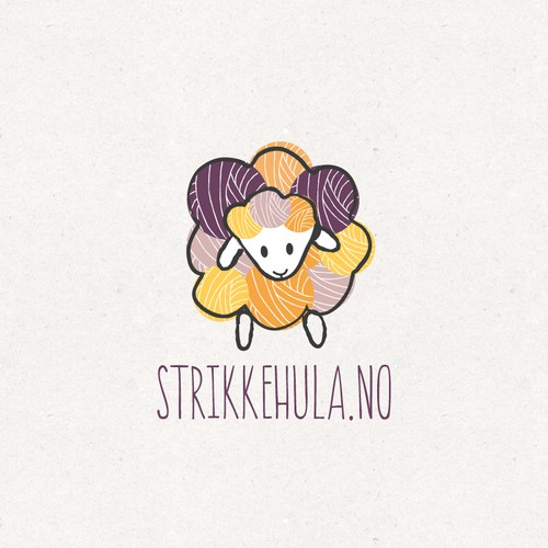 Purple and yellow logo with the title 'Knitting webshop logo'