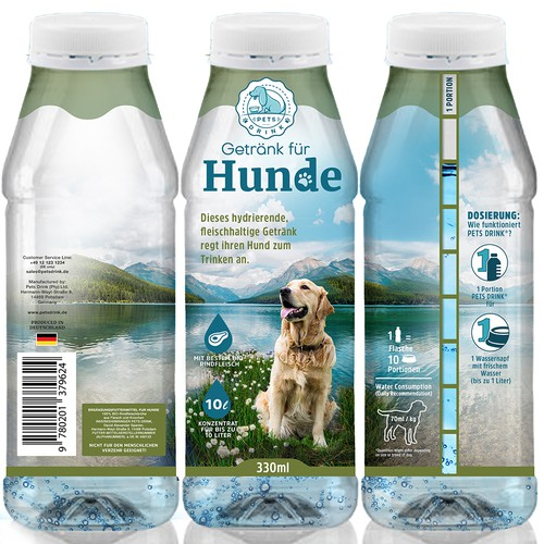 Meat packaging with the title 'Packaging design for Pets Drink, an innovative product encouraging your pets to drink more water.'