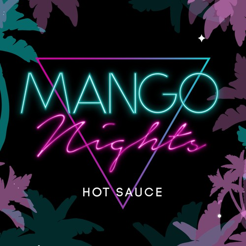 Hot sauce label with the title '80's Themed Hot Sauce Label'