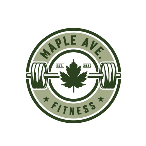 Maple leaf design with the title 'Μaple Ave. Fitness logo design '