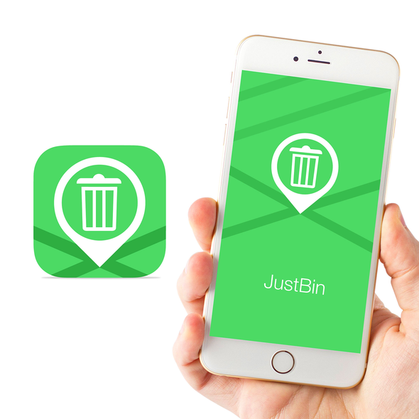 Map design with the title 'JustBin the Trash Bin location'