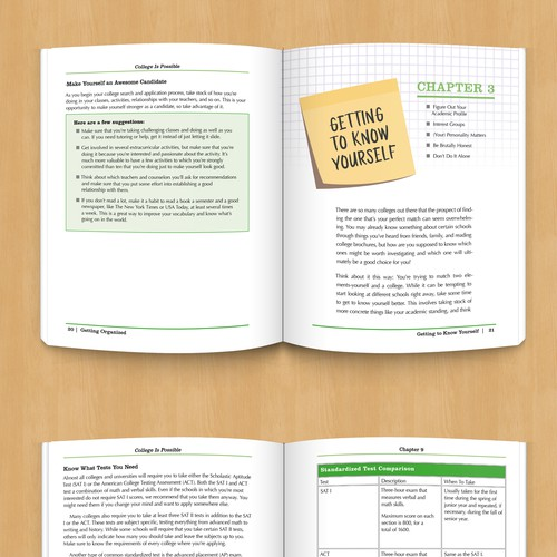 Chart design with the title 'Paperback Guide for College-Bound Students'