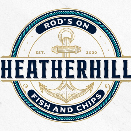 Nautical logo with the title 'Rod's on Heatherhill fish and chips'