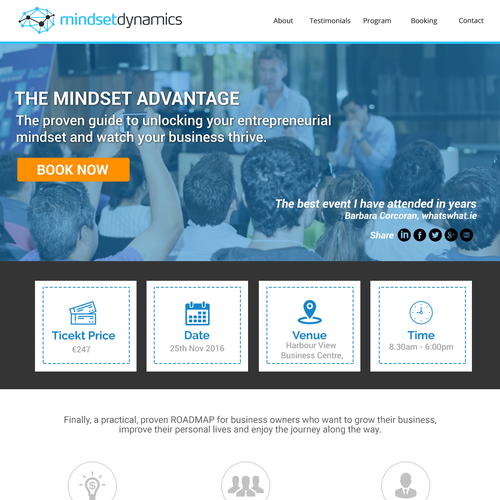Irish design with the title 'Mindset Dynamics - Landing Page'