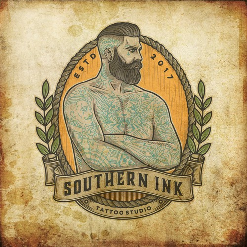Tattoo logo with the title 'Old School Style logo for Southern Ink Tattoo'