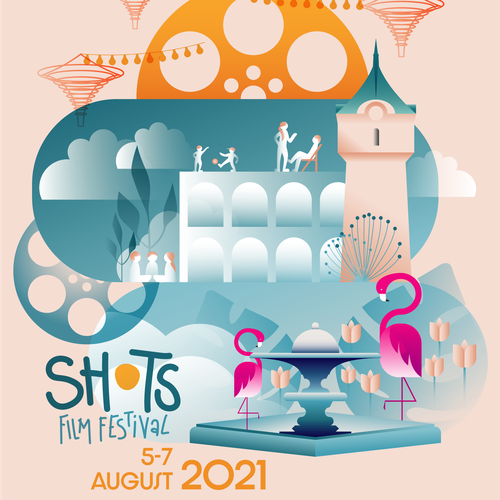 Fountain design with the title 'Poster design: SHOTS Film Festival 2021'