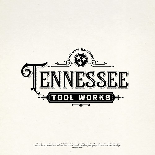 Victorian design with the title 'TENNESSEE TOOL WORKS LOGO DESIGNS'