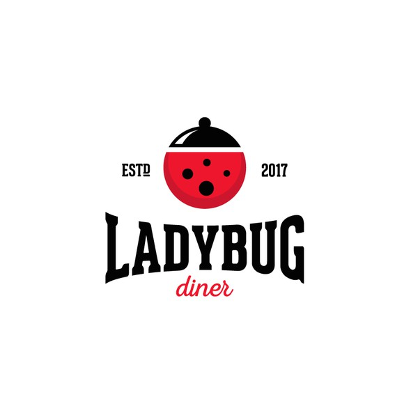 Ladybug design with the title 'Creative logo for Ladybug Diner.'
