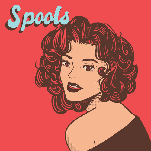 90s design with the title 'Spools '