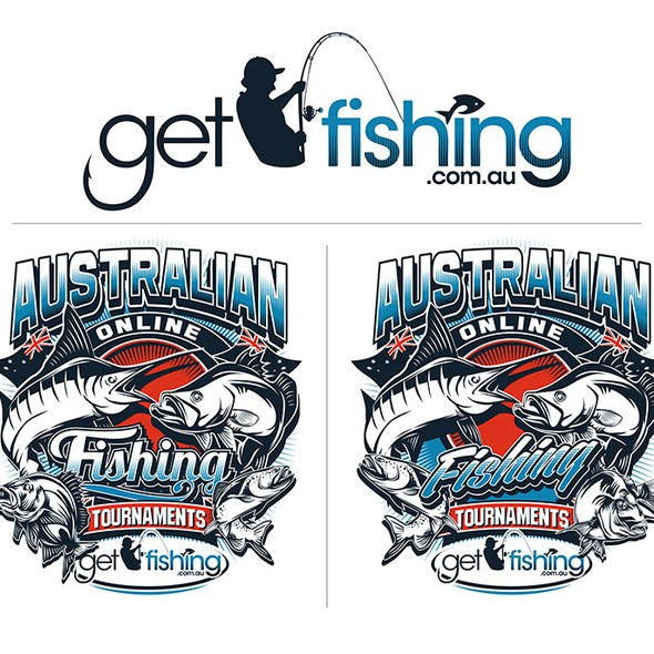Vector illustration with the title 'AUSTRALIAN FISHING TOURNAMENT'