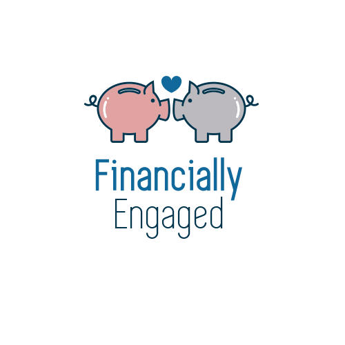 Piggy bank logo with the title 'Financially Engaged Logo Design'
