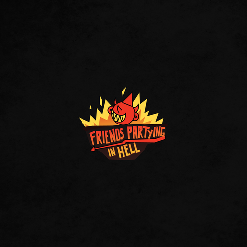 Hell design with the title 'Friends Partying in Hell Podcast Logo'