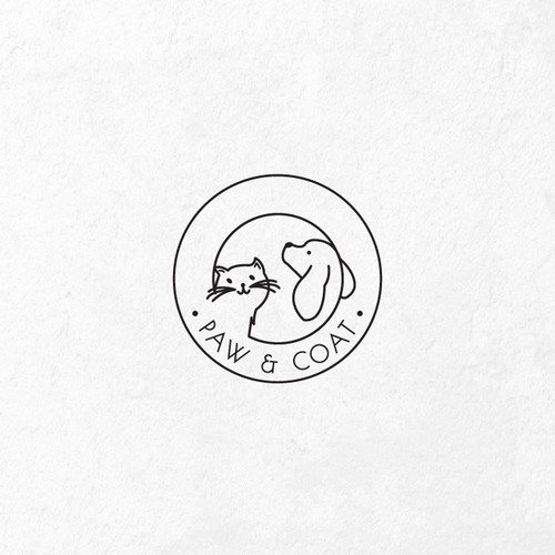 Dog paw logo with the title 'pet products logo design'