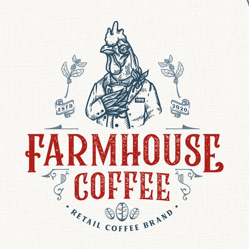 Chicken logo with the title 'Farmhouse Coffee'