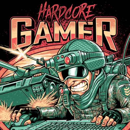 Gamer design with the title 'HARDCORE GAMER'