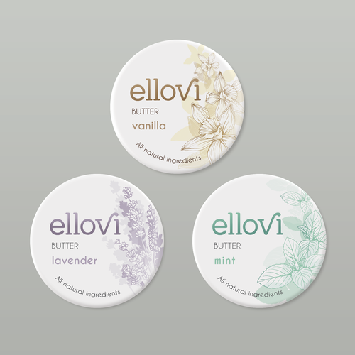 Pure label with the title 'Natural Body Butter Label Design'
