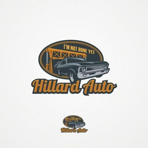 Garage design with the title 'Create the next logo for Hillard Auto LLC'