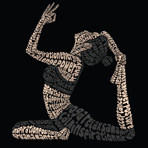 Fitness illustration with the title 'Yoga Pose Typography Illustration'