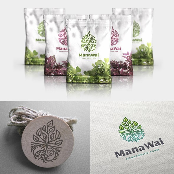 Water design with the title 'Logo for ManaWai-aquaponics farm'