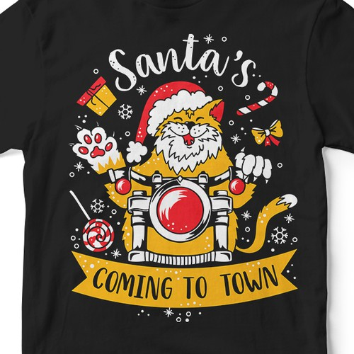Fun t-shirt with the title 'Santa's coming to town!'