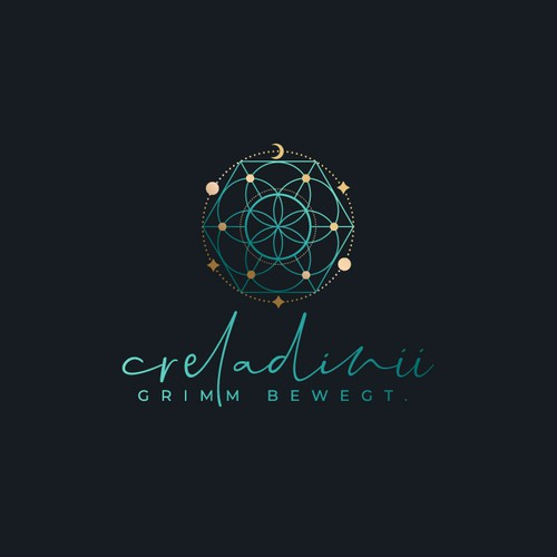 Ayurveda logo with the title 'Sacred geometry inspired logo'