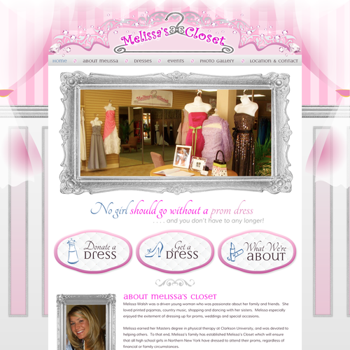 Sparkle design with the title 'Prom Dress Website'