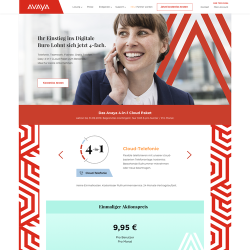 Management website with the title 'avaya project'