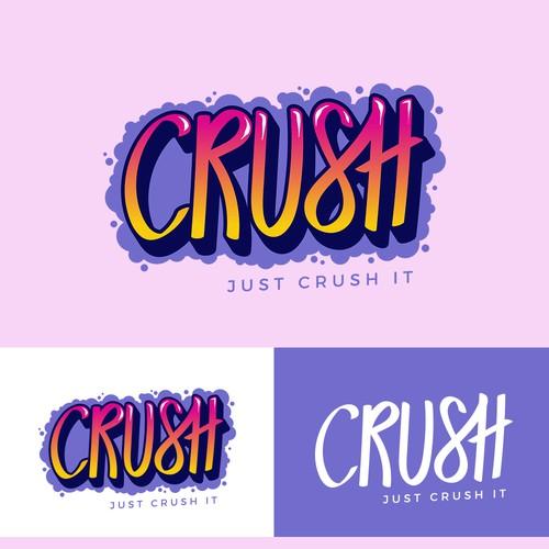 Foam logo with the title 'Need Logo for Recreational Marijuana Brand - CRUSH'